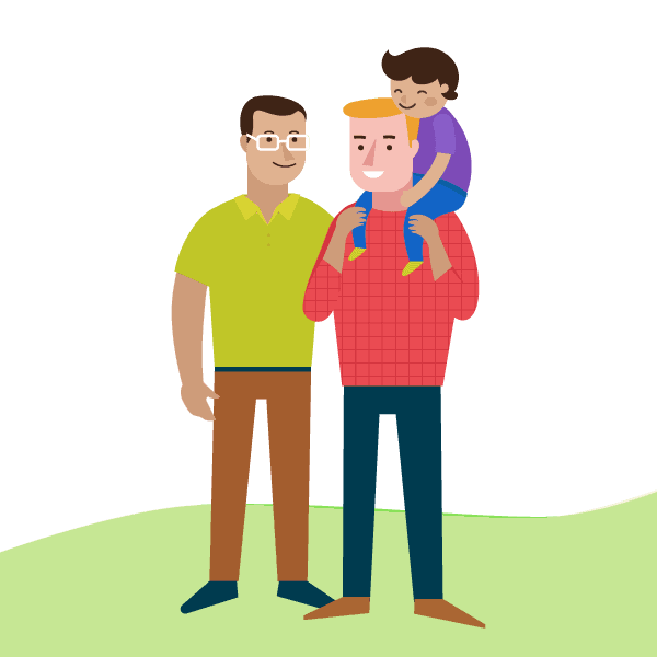 Gay male couple with young child