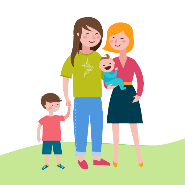 Illustration of two women with their children